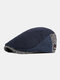 Men Autumn And Winter Beret Hat British Retro Forward Hat Knitted Peak Hat Flat Cap - Navy