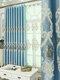 Cortinas bordadas de estilo europeo y pantallas de ventana bordadas que sombrean las cortinas de alivio 3D de aislamiento térmico - azul