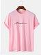 メンズレタースクリプトプリントカジュアル100%コットン半袖Tシャツ - ピンク