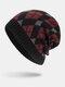 मेन विंटर Plus वेलवेट जियोमेट्रिक पैटर्न आउटडोर लंबे बुना हुआ गर्म बेनी टोपी - लाल