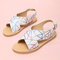 Girls Fashion Colorful Striped Cross Band Back Buckle Strap Beach Sandals - White
