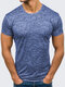 Mens Solid Color O-neck Short Sleeve Slim Fit Summer Breathable Casual T Shirts - Blue