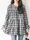 Blusa con cuello redondo y manga larga con estampado de cuadros para Mujer - Negro