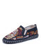 Men Linen Embroidery Pattern Hand Made Slip On Casual Shoes - Blue