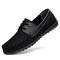 Men Breathable Textile Splicing Lace Up Casual Boat Shoes - Black