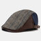 Men Knit Leather Contrast Color Adjustable Stripe Pattern Casual Outdoor Beret Hat - Coffee