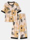 Mens Abstract Floral Print Loose Cotton Cofy Home Pajama Sets - Yellow