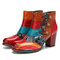 SOCOFY Vintage Buckle Genuine Leather Splicing Zipper Ankle Square Heel Boots - Red