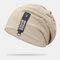 Cappello lavorato a maglia con doppio berretto in cotone solido casual da donna in cotone caldo all'aperto - Cachi