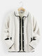 Mens Contrast Snap Button Lapel Casual Warm Teddy Jackets With Pocket - Beige