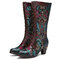SOCOFY Flowers Embroidery Splicing Genuine Leather Comfy Side Zipper Short Heel Mid-calf Boots - Blue