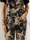 Vintage Butterfly Print Button Pocket Sleeveless Casual Jumpsuit for Women - Blue