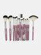 18 Pcs Makeup Brushes Set Eye Shadow Eyebrow Eyelashes Fan-Shaped Eye Makeup Brush - Purple Rod Silver Tube