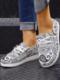 La lona de impresión casual de gran tamaño Mujer ata para arriba los zapatos de los holgazanes de Wedegs - Blanco
