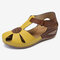 LOSTISY Women Flower Hollow Breathable Non Slip Beach Casual Wedges Sandals - Yellow