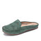 LOSTISY Suede Breathable Hollow Out Solid Color Casual Backless Loafers - Green