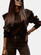 Casual Solid Color Ruffle Long Sleeve Plus Size Sweatshirt for Women - Black