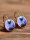 Vintage Glass Gem Dangle Women Earrings Animal Insect Cats Birds Pattern Earrings - #14