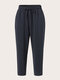 Solid Color Drawstring Elastic Waist Plus Size Casual Pants - Navy