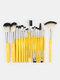 18 Pcs Makeup Brushes Set Eye Shadow Eyebrow Eyelashes Fan-Shaped Eye Makeup Brush - Yellow Rod Silver Tube