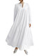 Solid Color V-neck Long Sleeve Plus Size Casual Dress - White