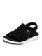 Women Casual Large Size Opened Toe Pure Color Light Weight Sport Sandals - Black