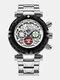 Multifunctional Men Business Watch Luminous Chronograph Calendar Quartz Watch - Black Case White Dial Silver Ban
