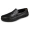 Men Retro Cow Leather Slip Resistant Slip On Casual Driving Shoes - Black