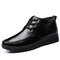Men Comfy Non Slip Warm Lined Soft Sole Business Casual Boots - Black