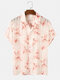 Mens Floral & Stripe Pattern Holiday See Through Button Down Mesh Sheer Shirts - White