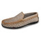 Men Retro Cow Leather Slip Resistant Slip On Casual Driving Shoes - Gray