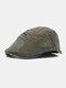Men Cotton Letter Embroidery Mesh Breathable Adjustable Flat Hat Beret Hat Forward Hat - Green