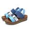 LOSTISY Women Casual Triple Strap Slingback Platform Sandals - Blue