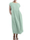 Solid Color Short Sleeve Plus Size Casual Dress - Green