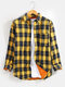 Mens Tartan Lapel Thick Lined Warm Casual Shirt Jacket With Pocket - Yellow