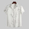 Mens Chinese Style Wintersweet Printed Turn Down Collar Short Sleeve Loose Casual Shirts