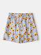 Men Sunflower Striped Print Shorts Lightweight Casual Mesh Liner Baord Shorts - Blue