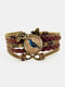 Vintage Wwoven Printed Bird Women Bracelet Multilayer Butterfly Pendant Bracelet - Brown