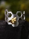 Vintage Literary Hollow Bee Honeycomb Insect Opening Ring - Sliver