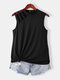 Cut Out Solid Half-Collar Plus Size Tank Top - Black