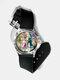 Casual Watercolor Women Wrist Watch PVC Band Leaf Bird Fruit Pattern Men Quartz Watch - #08
