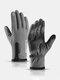 Men Nylon PU Plus Velvet Touch Screen Waterproof Non-slip Wear-resistant Thick Warmth Zipper Mountaineering Skiing Gloves - Gray