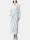 Women Flannel Lapel Thicken Warm Long Sleeve Belted Robes With Pockets - Grey