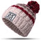 Women Winter Hat Scarves Gloves Set Cotton Kintted Pompom Hats Stripe Thick Beanie Collar Gloves - Beige