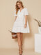 Solid Color Embroidery Lace Hem Cotton Casual Midi Dress for Women - White