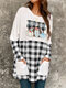 Plaid Patched Print Pockets Long Sleeve Casual Blouse - Black