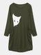Cute Cat Print Pocket Long Sleeve Casual Dress for Women - Army green