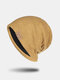 Unisex Knitted Solid Color Letter Rivet Leather Label Warmth Casual Beanie Hat - Yellow