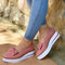Large Size Women Casual Round Toe Suede Bow Slip On Platform Loafers - Pink