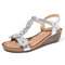 LOSTISY Flower Opened Toe T Shape Wedges Buckle Sandals